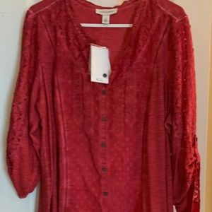 Woman Plus size Soft red Blouse